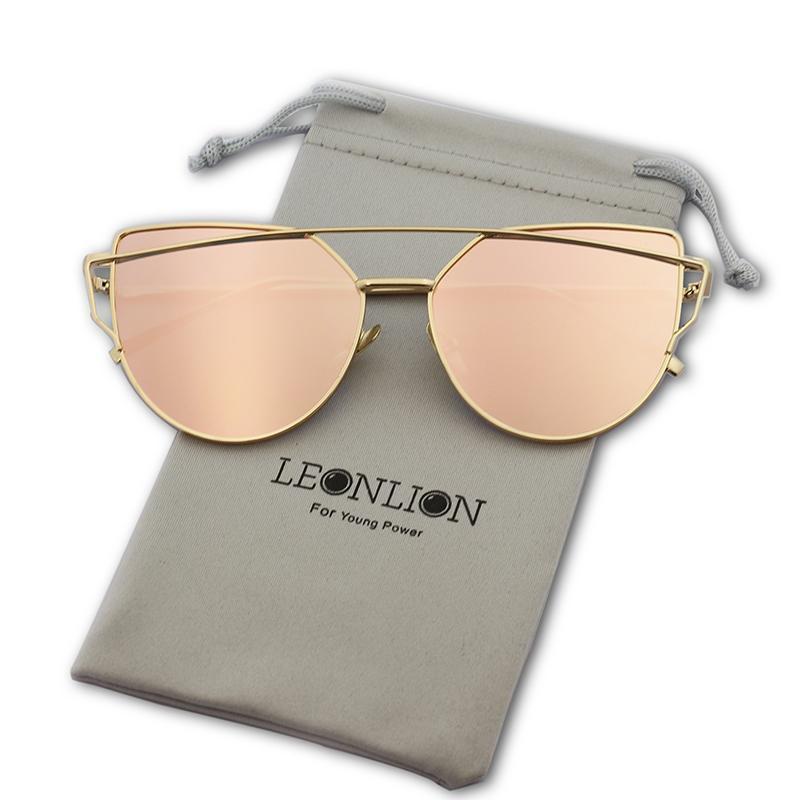 Leonlion Vintage Specchio Occhiali da sole Occhiali da sole in metallo Donne Riflettente Cat Eye Retro per le donne Feminina Brand Designer QGDIN