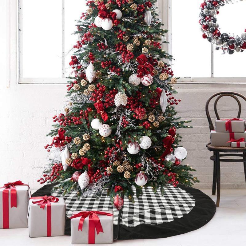 Главная Рождественские сцены Декоративное дерево юбка Торговый центр Black Plaid Tree Bottom Фартук 120см Юбка украшения