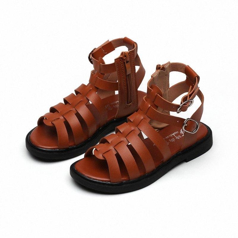 Gladiador de la manera verano de las muchachas Zapatos niños tacones altos para la muchacha de la playa de los niños sandalias zapatos de princesa 3 4 5 6 7 8 9 10 11 12 Años yzV6 #