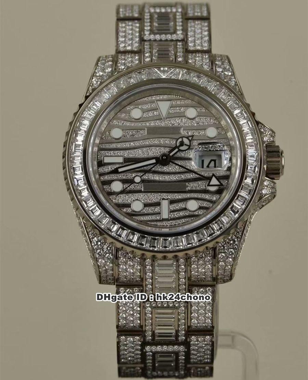2 estilo de lujo de calidad superior TW 40mm GMT Todos los diamantes ETA2824 Reloj automático para hombre 116769 Diamond Dial Diamond Bracelet Gents Watches