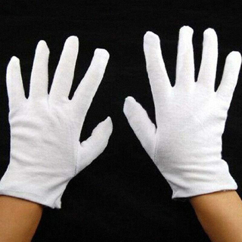 12 Paar weißen Handschuhe Cotton Soft Thin Münze Schmuck Silber Inspektion Arbeitshandschuh Universal-Haushalt Garten Reinigung Wyde #