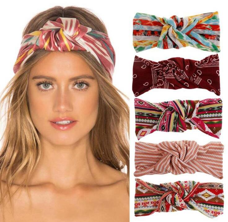 Headbands Bohemia Designer knotted Cross Headband Women Striped Hair Accessories Girl Fashion Head Wrap Elastic Turban Hair Band EEB3065