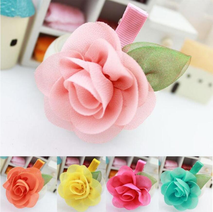 Nouvelle mode enfants accessoires enfants enfants filles enfants ornements bandes de cheveux clips cheveux rose fleur princesse bébé parti coiffe mixcolors