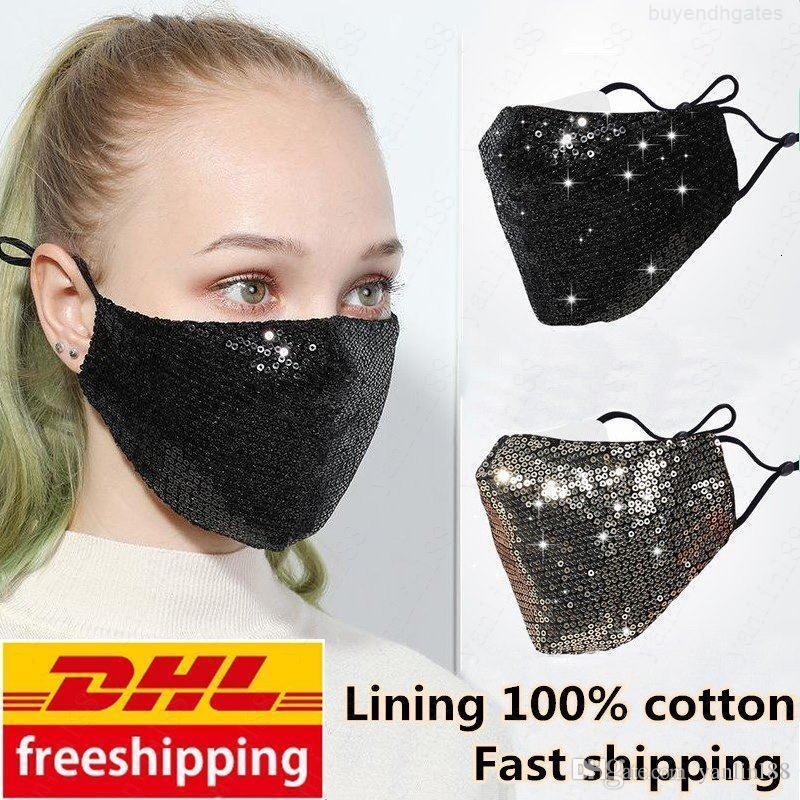 DHL bateau libre mode bling bling Paillettes Masque de protection anti-poussière couverture bouche lavable réutilisation Masque élastique Earloop Masque bouche FY9048