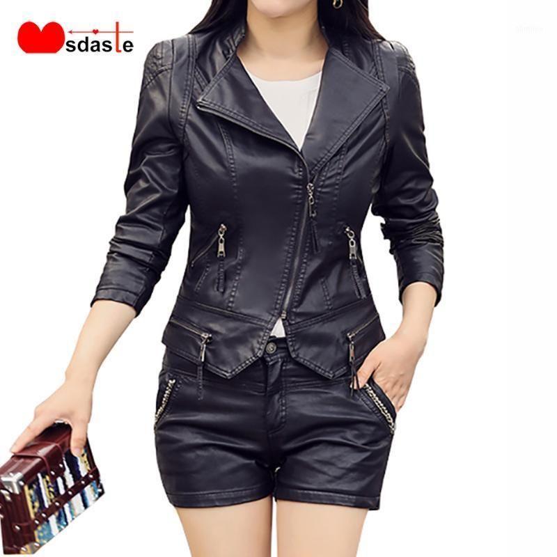 Abrigo de la chaqueta de cuero de la PU para las mujeres Nuevo Otoño Casual Slim Soft Moto Chaqueta Biker Faux Lady Cuero Streetwear Femenino Chaquetas básicas1