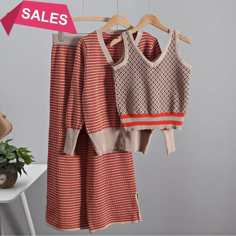 2021 New Spring Women's Tracksuit 3 Pieces Set Long Sleeve Women Cardigan Sweater+ Knitted Tank Top + Wide Leg Pant Suits Yfb7