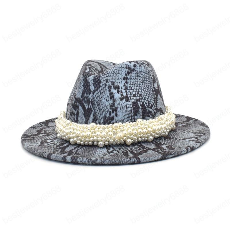 Yeni Kadın Yılan Baskı Fedoras Geniş Ağız Şapkalar Sonbahar Kış Moda Caz Caps Erkekler Vintage Beyefendi Zarif Şapka