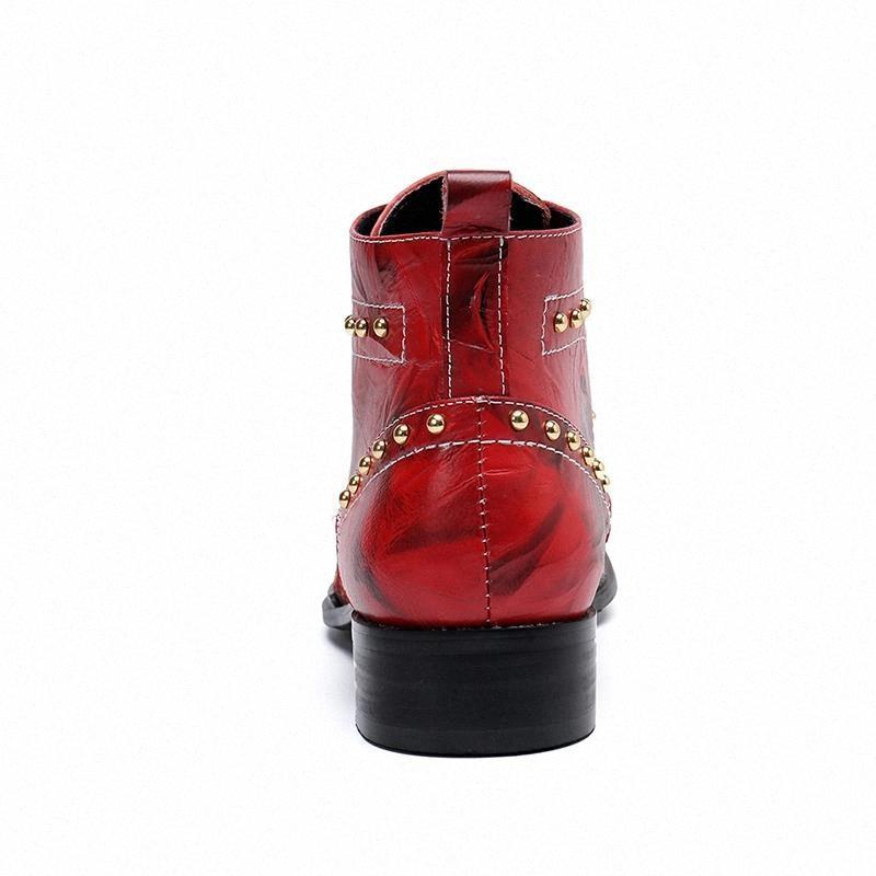 Véritable Cuir Hommes Bottes Broderie extérieure Hommes Boots Cowboy Bottes Casual Rivets Casual Bottes de mariée Mode Luxe # Wa0m
