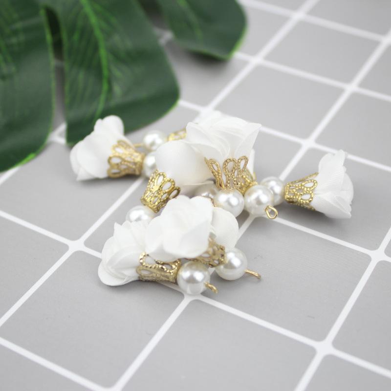40pc de mousseline de mousseline de soie perles fleur glands bijoux bricolage artisanat fournitures franges bracelet collier accessoires boucles d'oreilles mini tassel h jllrcs