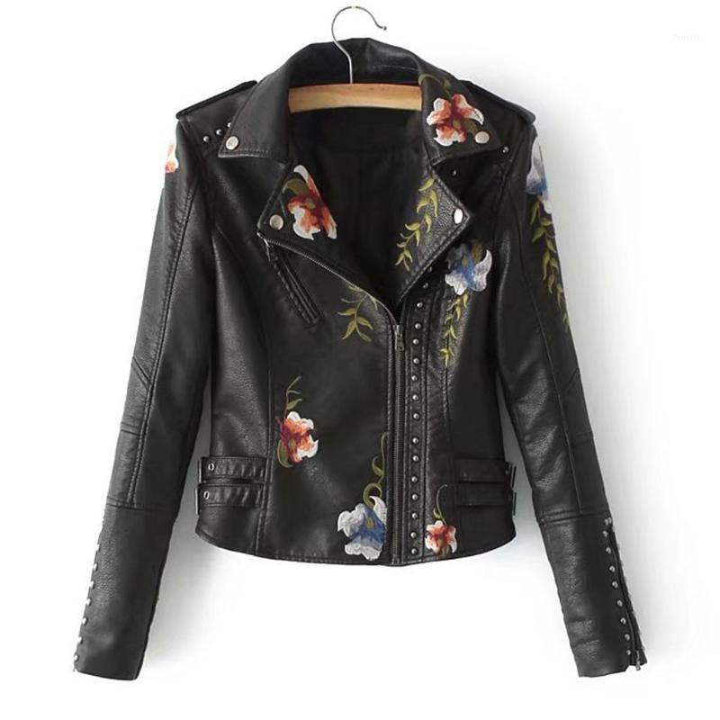 Yeni kadın ceket çivili pu deri işlemeli motosiklet ceket - bayanlar slim-fit işlemeli çiçek kısa bisikletçinin ceket ceket1