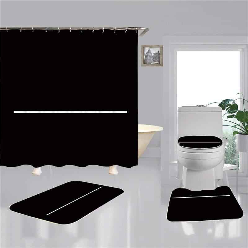 3D 인쇄 욕실 샤워 커튼 4pcs 세트 패션 간단한 홈 목욕 화장실 커버 매트 미끄럼 방지 욕실 액세서리