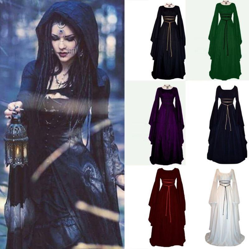 Costumi Halloween Dress donne di Halloween per le donne, partito dei vestiti guidata Strega Cosplay Festival lungo abito manica
