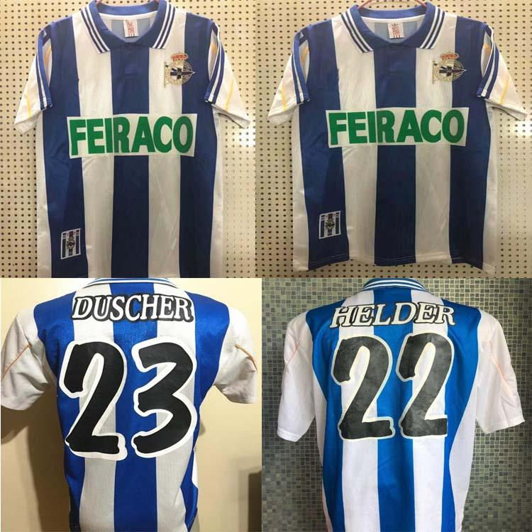 1999 2000 Deportivo de la Coruna rétro Jersey 99 00 De Depor Home Vintage Makaay Mauro Silva Fran Djalminha Classic Shirt de football
