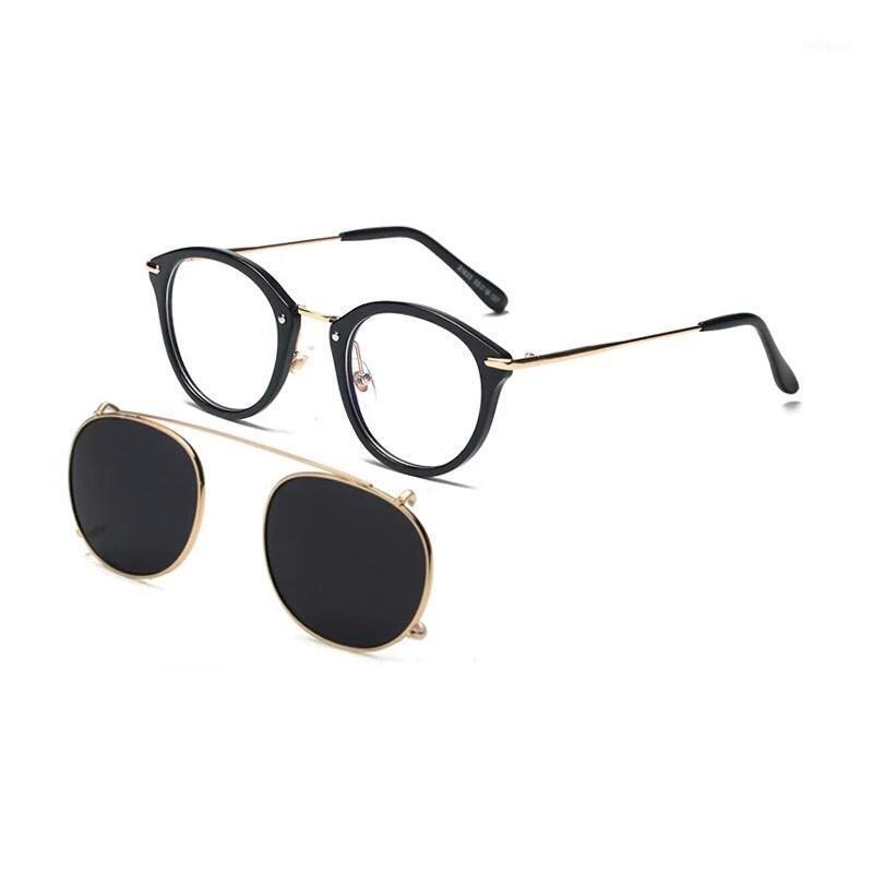 Métal rond clip polarisé steampunk sur lunettes de soleil hommes femmes mode glasse avec lunettes optiques cadre en métal sur ordonnance oeil1