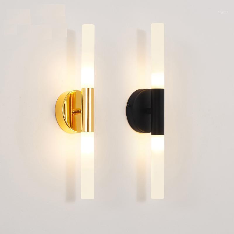 Moderne Metallrohr Rohr nach unten LED Wandlampe Licht sconce Schlafzimmer Foyer Waschraum Wohnzimmer WC Badezimmer Wandleuchte LED1