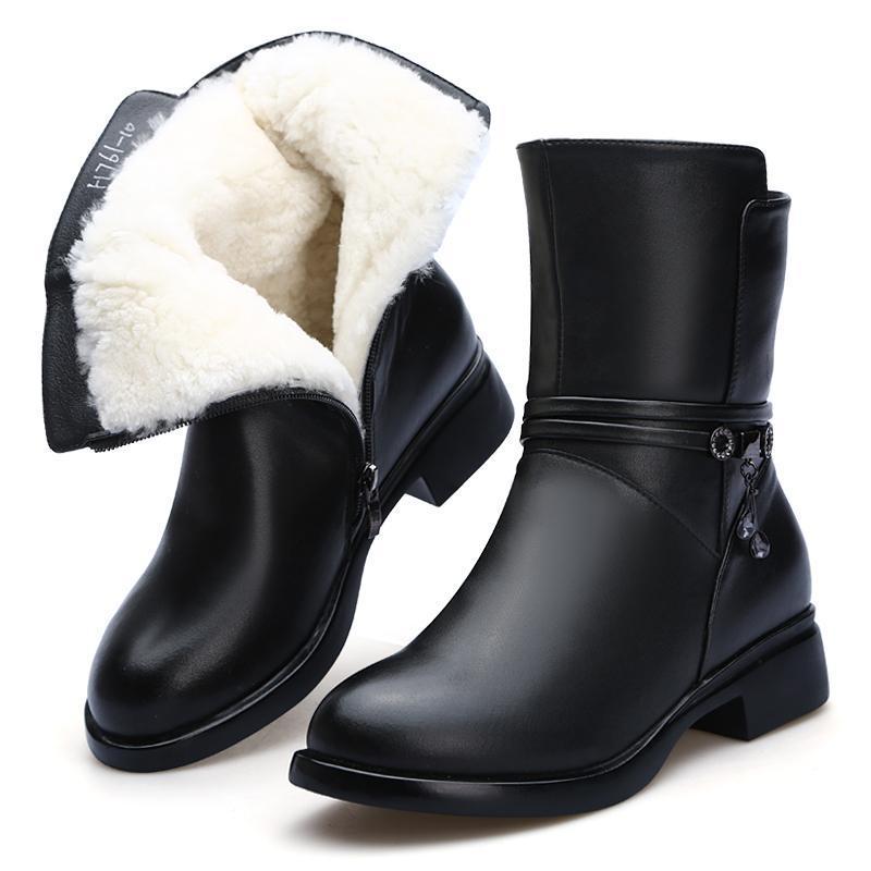 Hot 2020 di nuovo modo di racchette da neve invernale stivali delle donne Comfort Women caldo scarpe di lana antiscivolo in pelle morbida pelle bovina