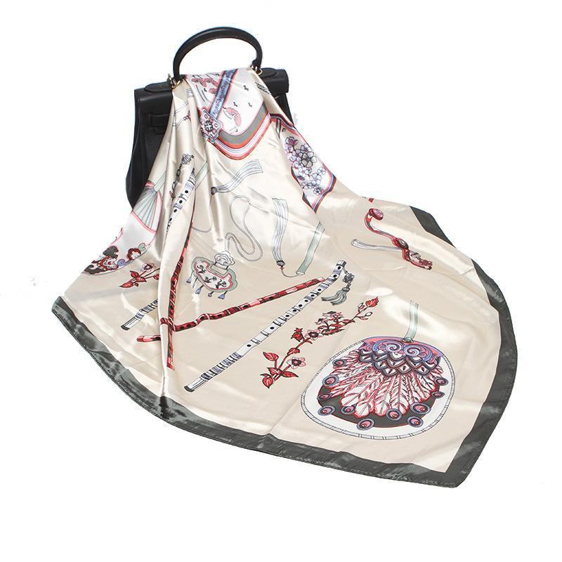 90 cm mujer seda bufanda satinado rayón moda palma de palma impresión de impresión bufandas primavera mantón envolver cuello cuello gran pañuelo hijab bufanda
