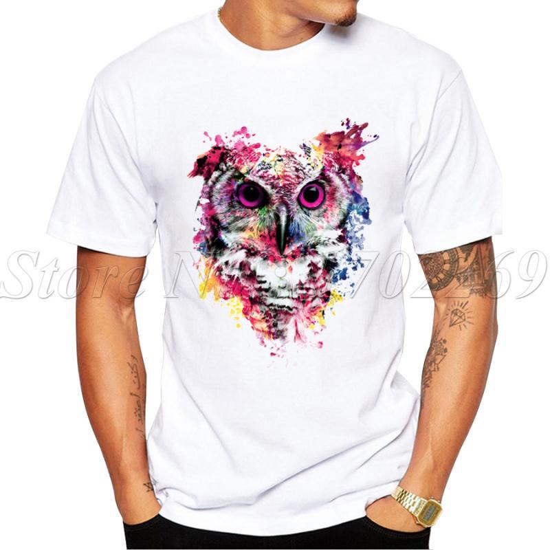 Vendite calde di nuovo modo di Pittura Men T shirt design Gufo manica corta Geek Top Punk Owl Stampato Hipster Tee sportiva Felpa con cappuccio Felpa con cappuccio
