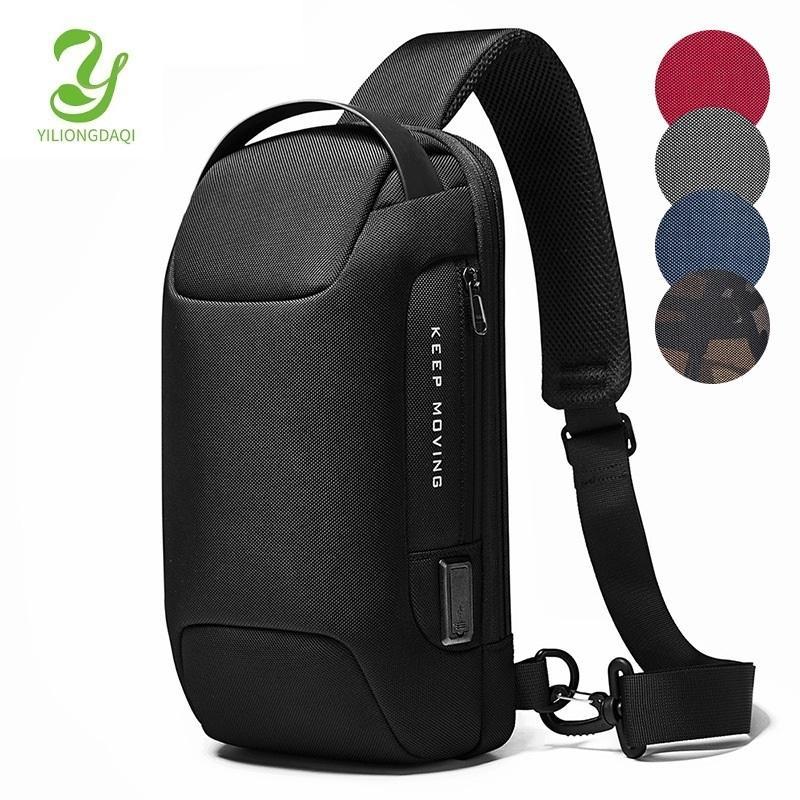 YILIONGDAQI Men Sling Sport Travel Cross Body Chest Pack Waterproof Anti-theft Shoulder Bag with USB Q1230