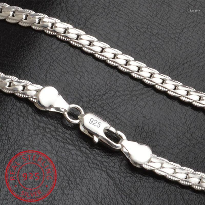 Sıcak Satış 925 Gümüş Kolye Charm Kadın Adam 50 cm Gümüş 6mm Tam Sideways Kolye Moda Marka Jewelry1