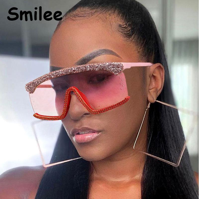 Occuori di moda di moda Occhiali da sole Paillettes per obiettivi di lusso per lenti di lusso Rhinestone rosa Shades Shades Sunglasses One Designer Oculos Cbhnq