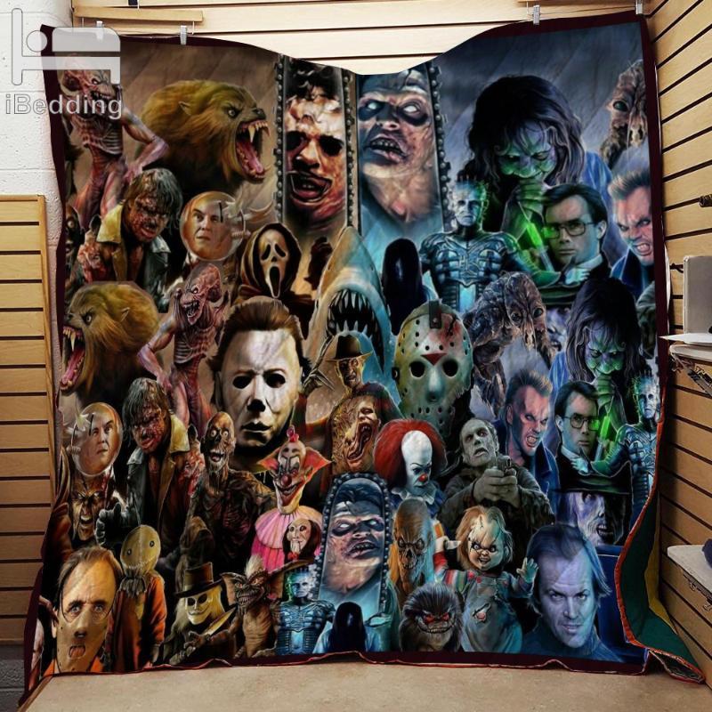 Anni '80 e '90 Film horror Classic Film caratteri mostro Printed Quilt Coperta Doppia pieno / regina King Size Personalizza