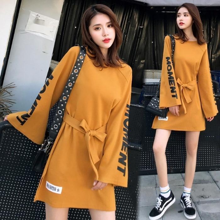 yBEe5 2020 roupa nova vestido de manga Outono mulheres casuais New camisa Autumn meio solta moda temperamento longa coreano camisola longa 9J saia