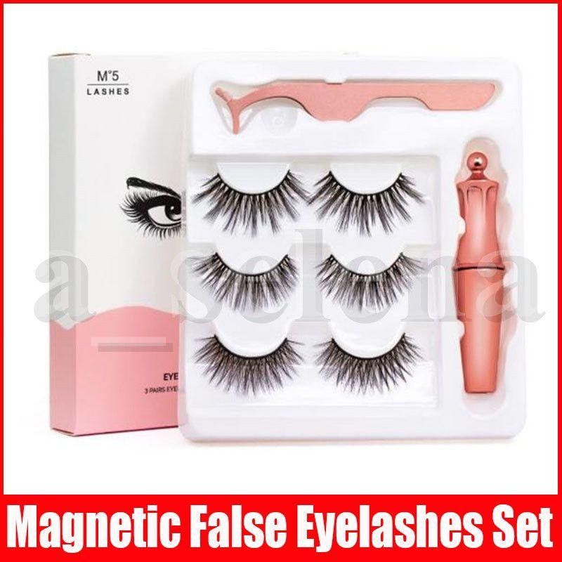 Magnetic Liquid Eyeliner & Magnetic False Eyelashes & Tweezer Set 5 Magnet False Eyelashes Set Glue Make Up Tools 3 Pairs eyelash 3 in 1 set