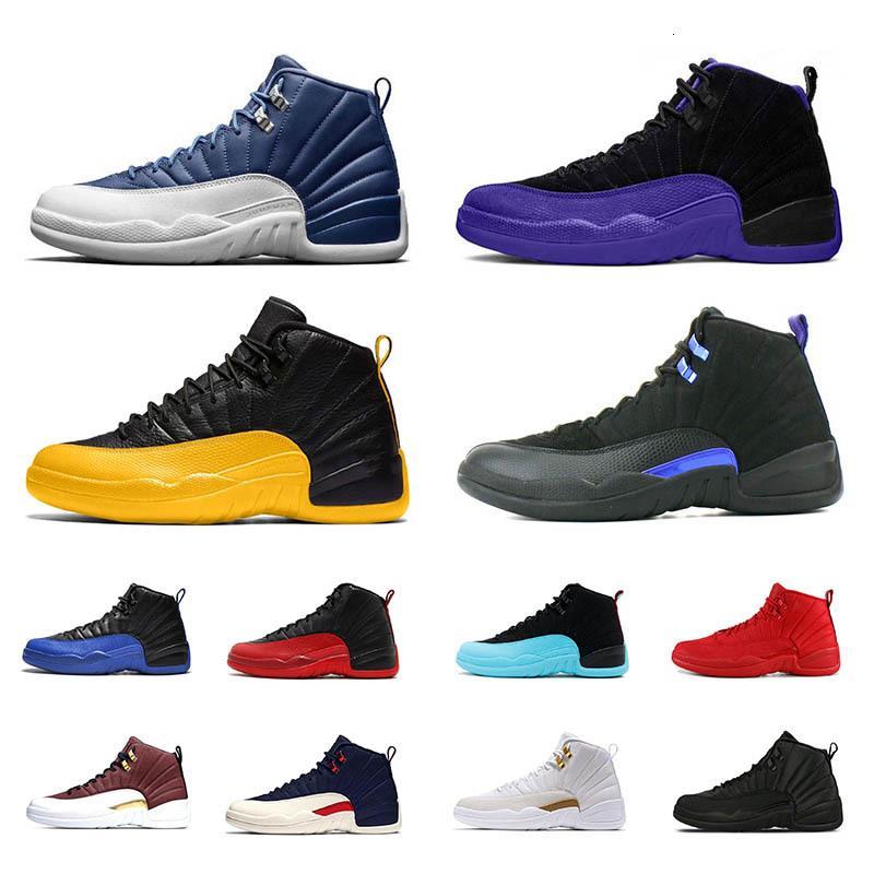 Indigo Università Concord Oro Blu Scuro 12 12s Uomini scarpe da basket Fiba Influenza Gioco Reale Gamma Palestra Michigan Bianco Taxi Sport Sneakersiwqc