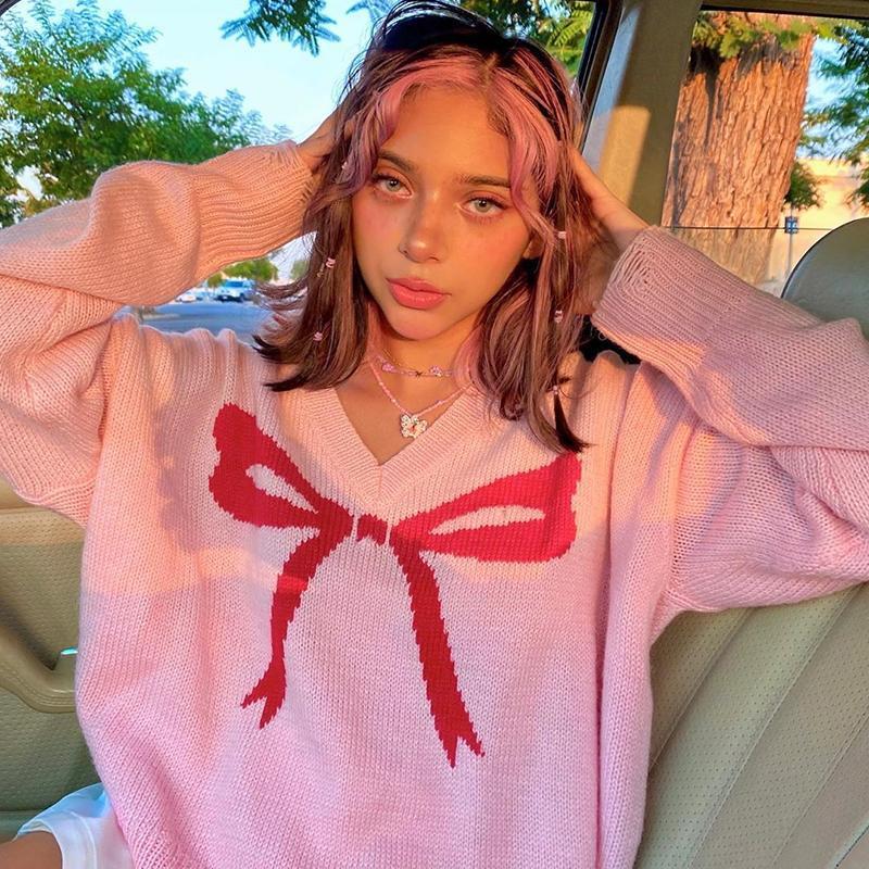 Pink Casual Sweat Y2K linda de punto del suéter del invierno otoño posters Puente de la Mujer cuello en V suéter flojo Caliente Corea Moda