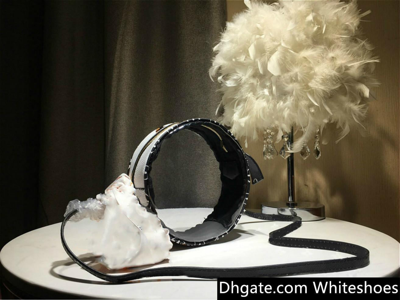 borsa a tracolla trasparente rotonda 2019 di marca borse donna di lusso stilista stilista di lusso borse borse moda nero-bianco di colore # 214