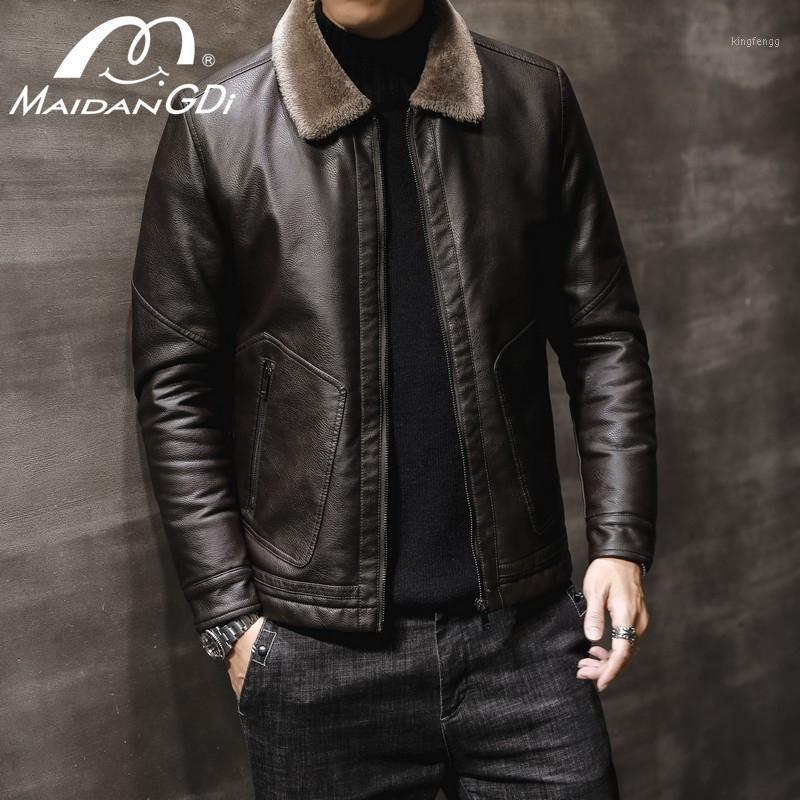 Maidangdi Мужские Куртки 2020 Весна Новый Повседневная Сращивание двигателя Флисовая Кожаная Куртка Мужской Осень Старинные Теплые Кожаные Куртки Пальто1