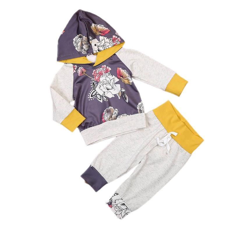 2021 otoño primavera recién nacido bebé niña niño ropa conjunto flor estampado de flores de manga larga sudadera con capucha + cintura elástica Pantalones de costura 0-3t
