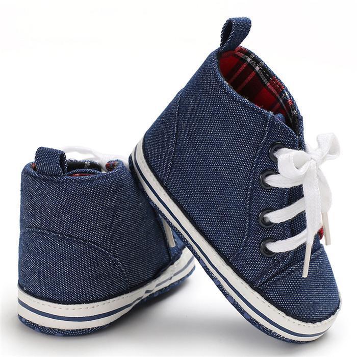 Tout-petit bébé garçon Chaussures pour bébé bleu marine Jeans garçons nouveau-nés espadrille Semelles souples Chaussures Filles Tenis Menino