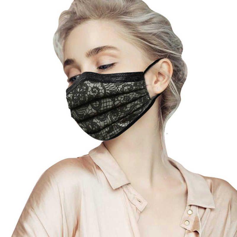 Print 10Pcs retail packae fashion Disposable Lace Black Face Masks Non-Woven Anti-Dust Mask 3 layer Activated carbon pro1LCC