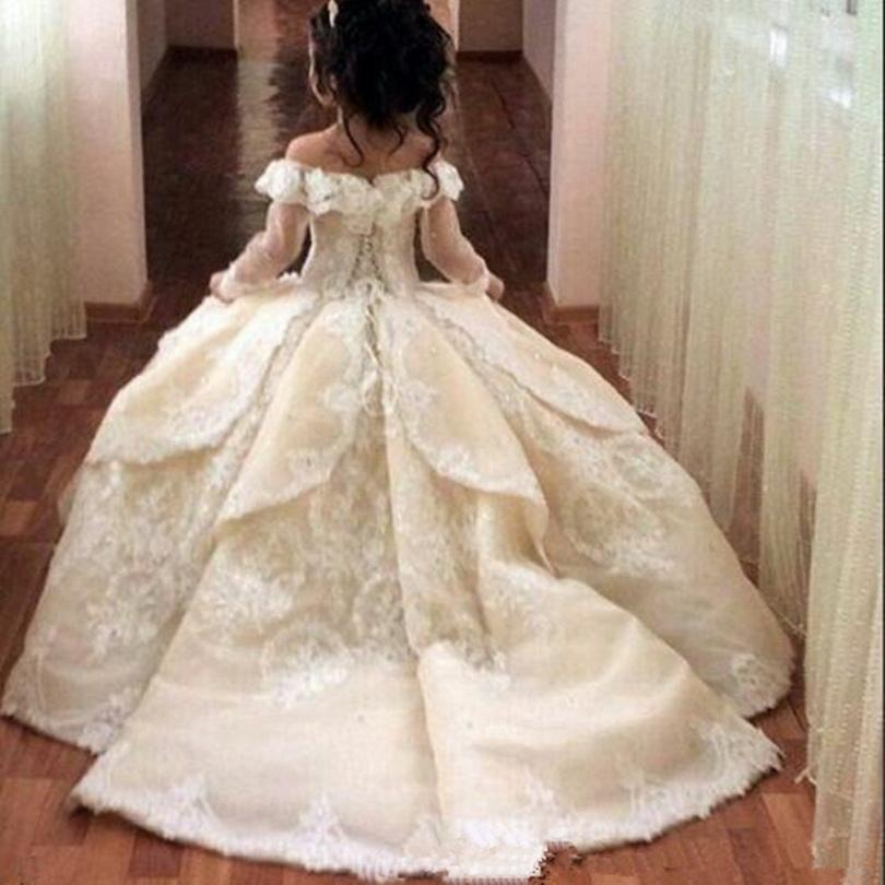 Lindo off ombro flor menina vestidos para casamento sheer manga longa lace lace applique meninas pageant vestidos princesa vestidos