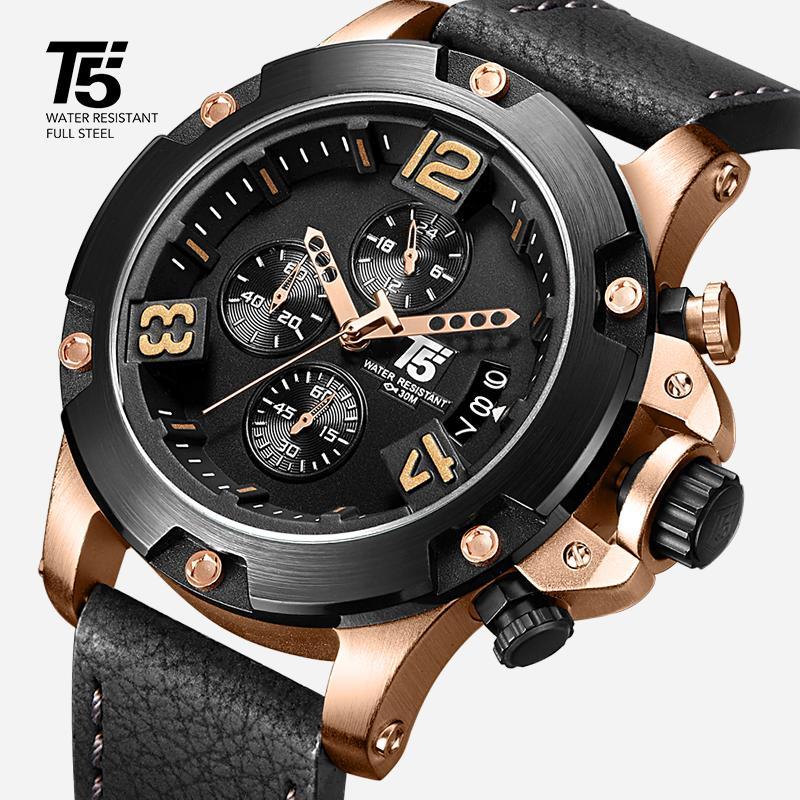 Cinturino in pelle, rosa T5 per uomo, timer di quarzo nero di lusso, impermeabile, orologi sportivi da uomo, orologi da uomo