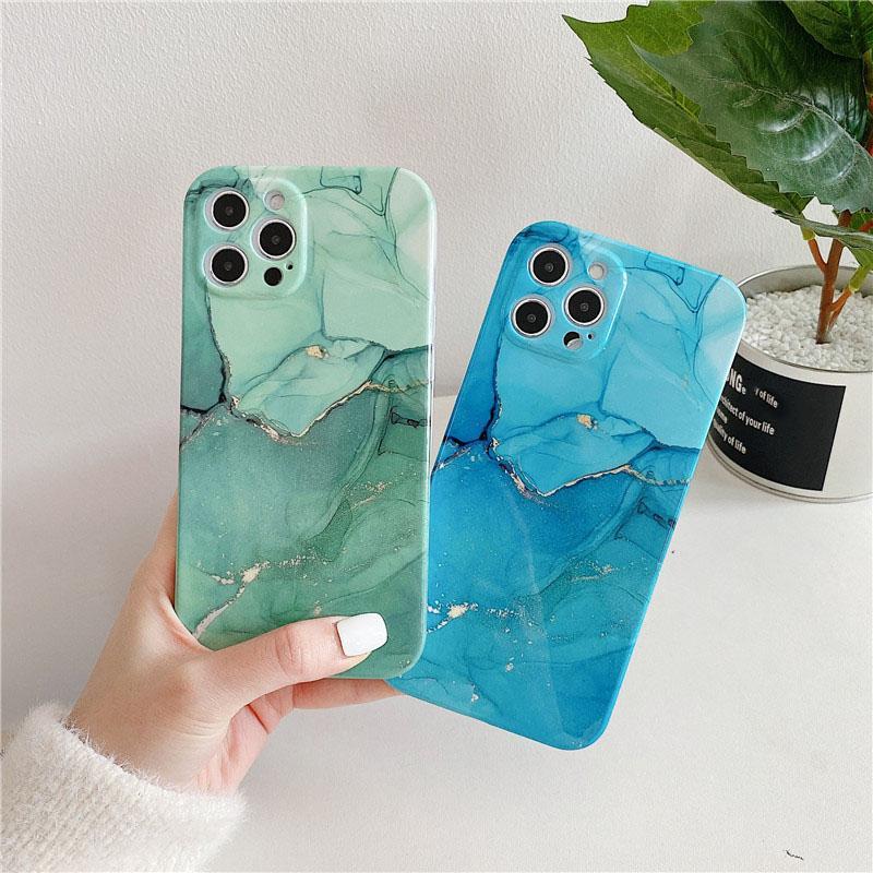 Caso de telefone de mármore de pintura a óleo de bronzeamento para iPhone12 11 Pro TPU Capa protetora de telefone de shell suave para 7 8 plus