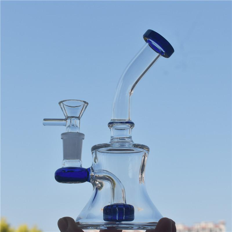 Glass Bongs 7.5'' recycler bubbler glass bong inline matrix perc water pipe dab rig with 14.5 mm joint glass oil burner pipe