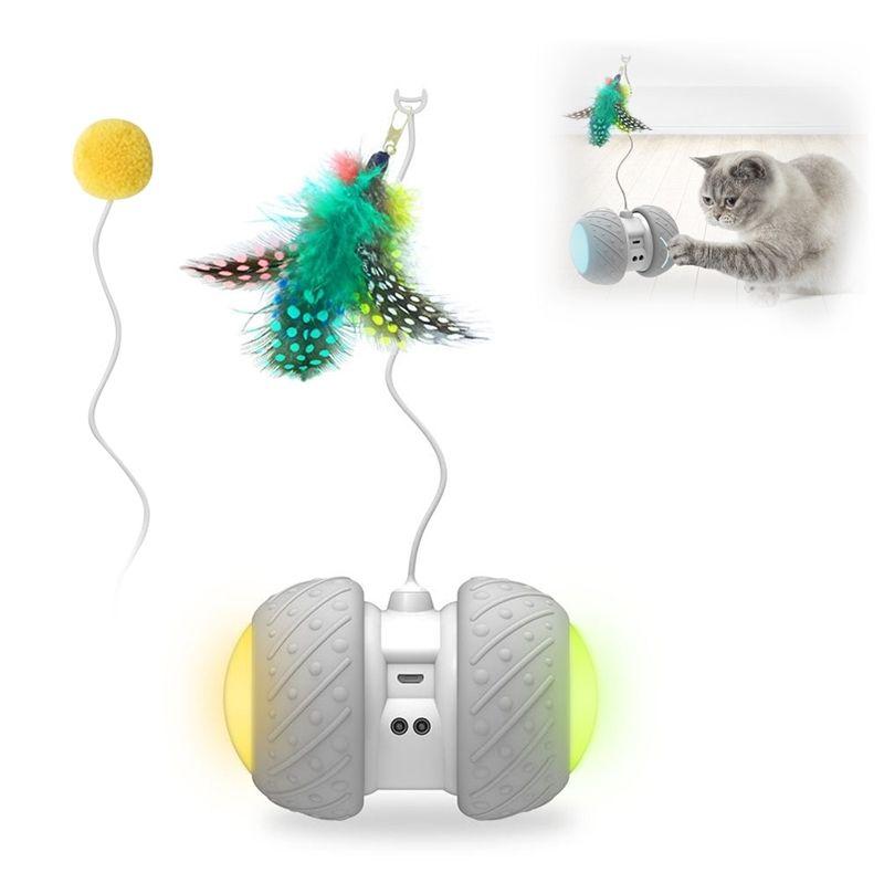 الحيوانات الأليفة دعابة التلقائي مع عجلات الصمام قابلة للشحن فلاش المتداول الملونة ملصقا ريشة لعبة القط الإلكترونية القط 201112