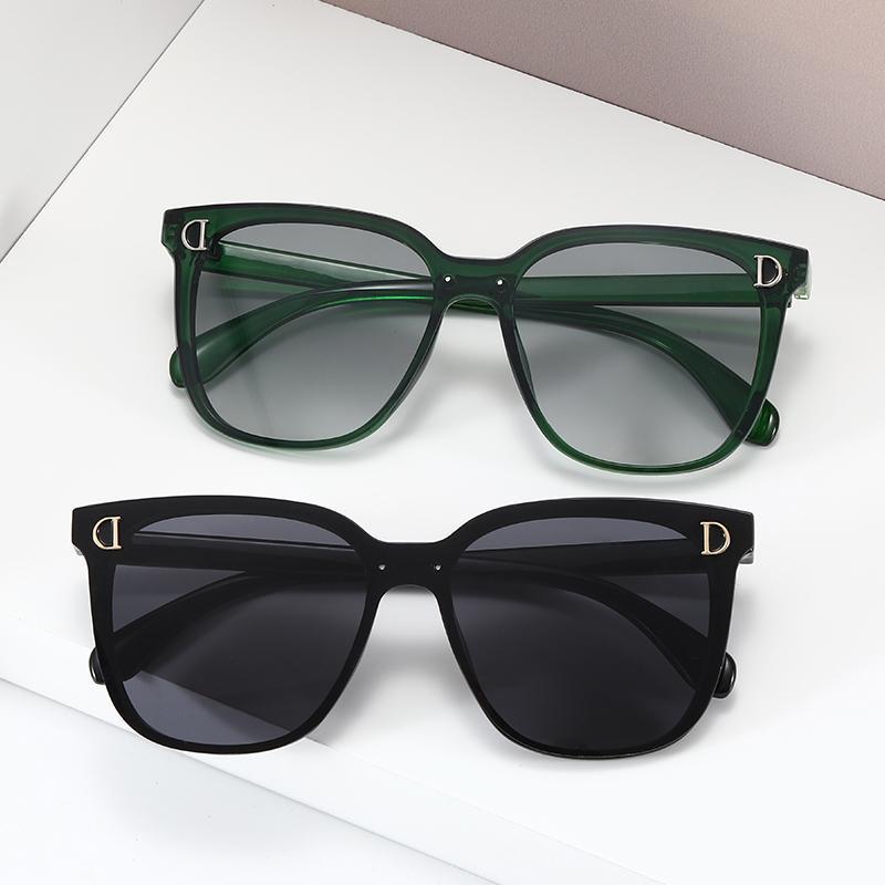 النظارات الشمسية خمر الأزياء ساحة نساء الرجال تصميم المتضخم d رسالة إطار نظارات الشمس للإناث uv400