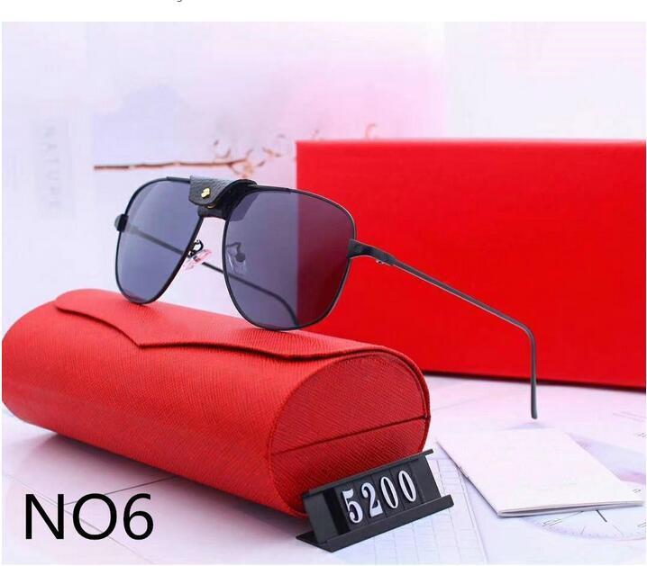 Солнцезащитные очки Женщина Дизайнер Дизайнер Роскошные Солнцезащитные Очки Мужские Стеклянные Цвета с очками Модель 5200 6 Качество Дополнительные коробки Высокий UV400 Adumbr Lucp