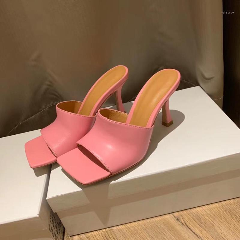 Sandalias 2021 verano tacones altos tacones zapatillas mujer cuero genuino cuadrado peep toe damas bombas mulas zapatos mujer1