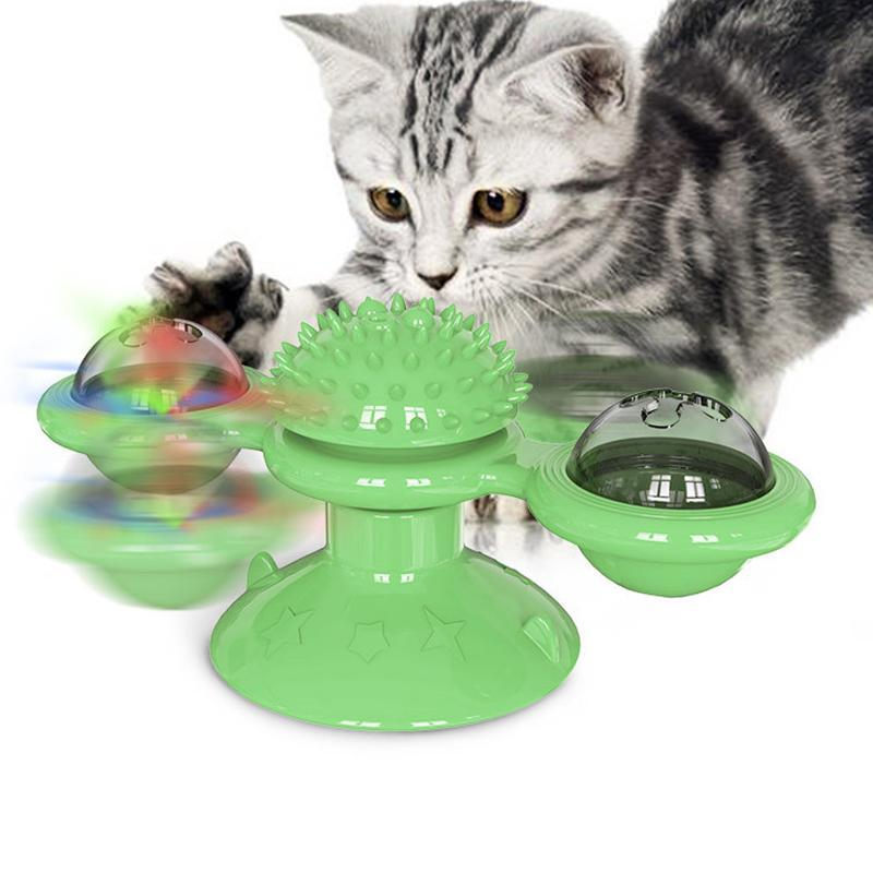 Cat Toys Pet Toy Dog Interactive Carousel Rubbing Device Glow Rotation Funny Supplies Dogs Teeth Ball Tooth Cleaning