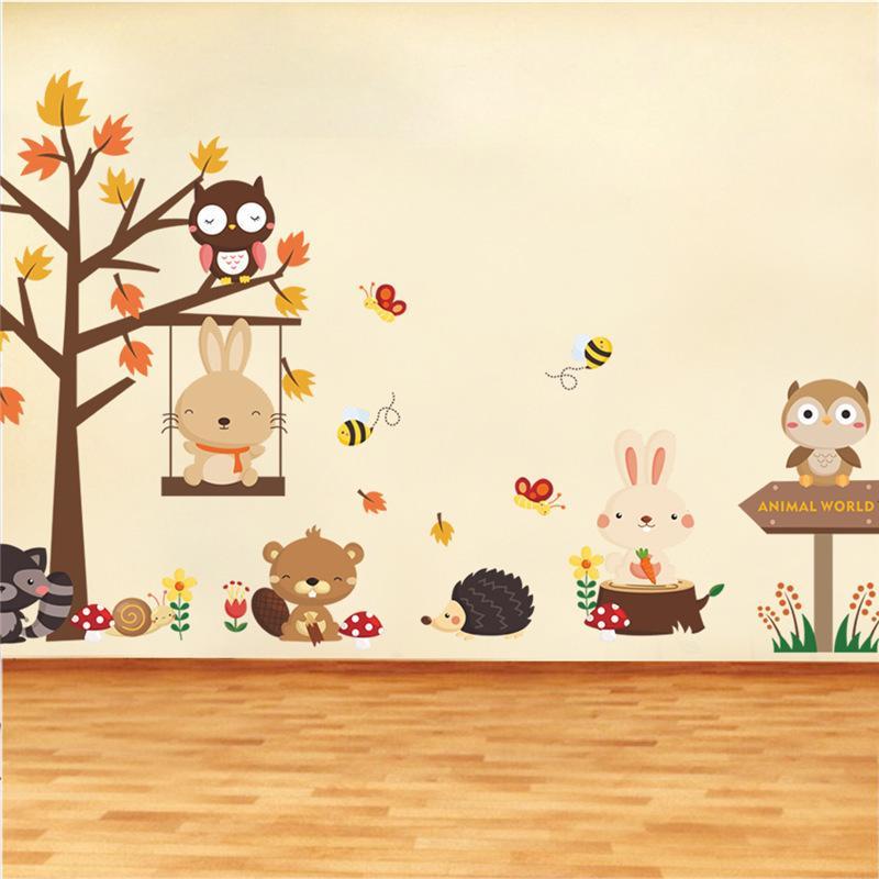Лесная сова бабочка качели кролика белка стены наклейки животных дерево для детей комнаты детей детские детские комнаты дома декор LJ201128