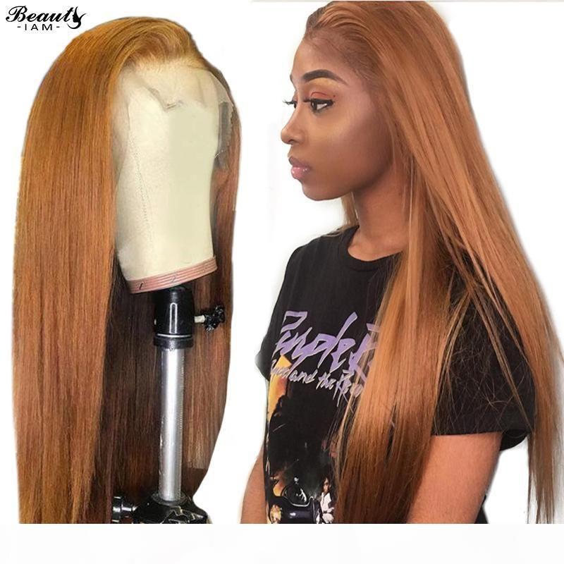 Блондинка Кружево фронт парики для женщин черных Цветных человеческих волос Париков 13X4 парик Фронтальной парик перуанского # 30 Прямых волосы Remy парика шнурка