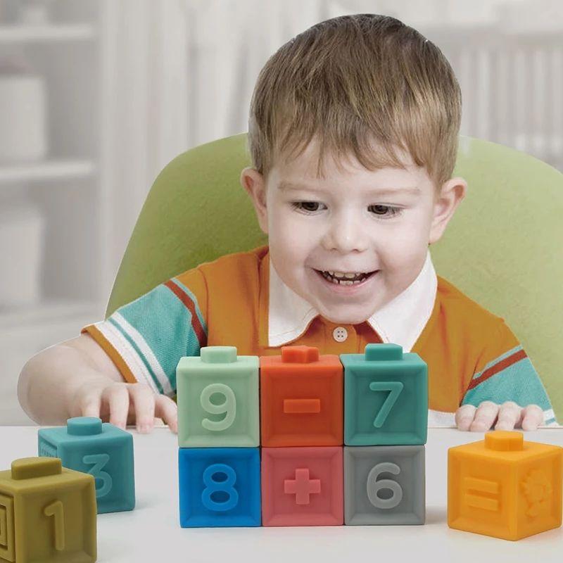 Yumuşak Bebek Dişlikleri Set Blokları Set Bebek 3D Dokunmatik El Yumuşak Topları Bebek Masaj Kavrama Oyuncak Kauçuk Vinil Kabartmalı Yapı Taşları