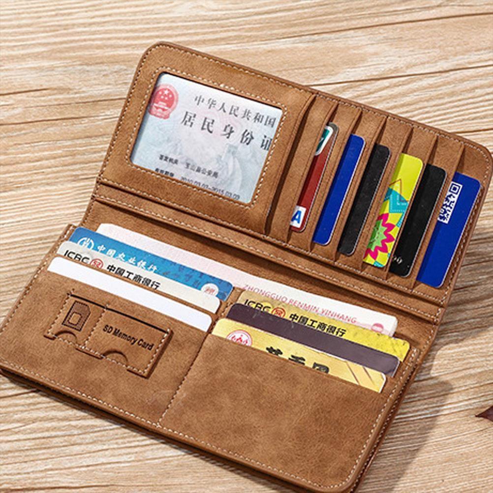 Carte 15 Pochette de téléphone Pochette PASJESHOUDER Portefeuille en cuir Court avec support Carte de monnaie Hommes Porte-monnaie HTMHS