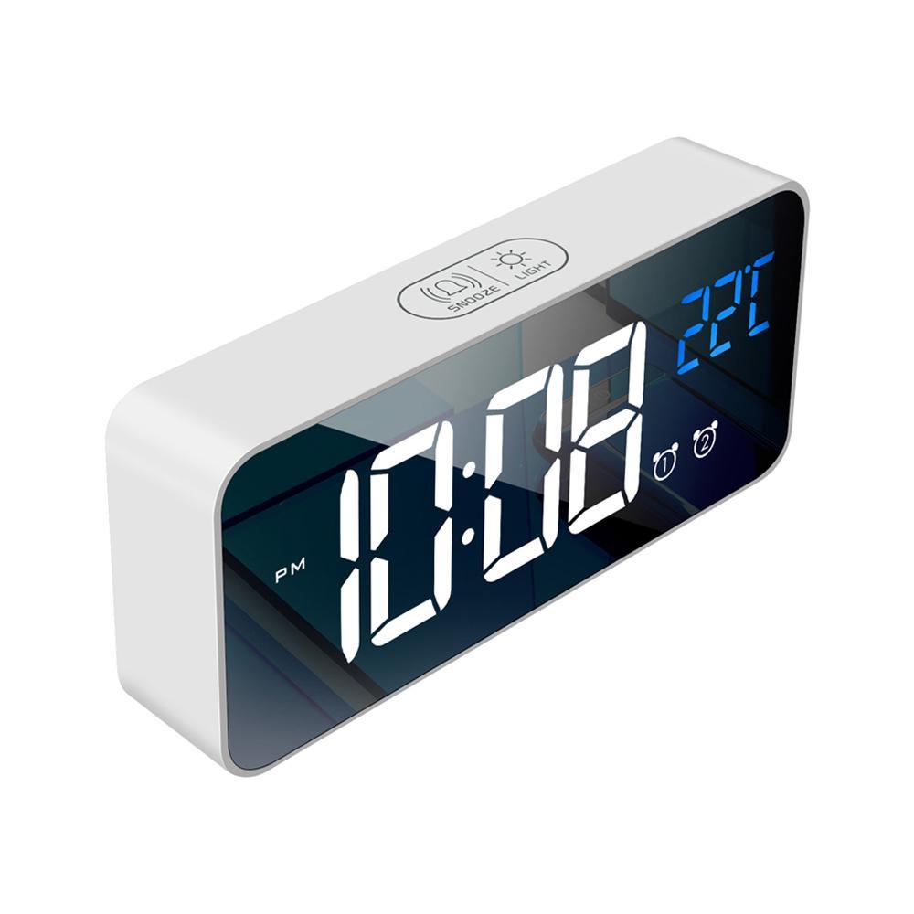 Прикроватная буксировка цифрового зеркала светодиодные музыкальные будильники с полным термометрами с полной температурой