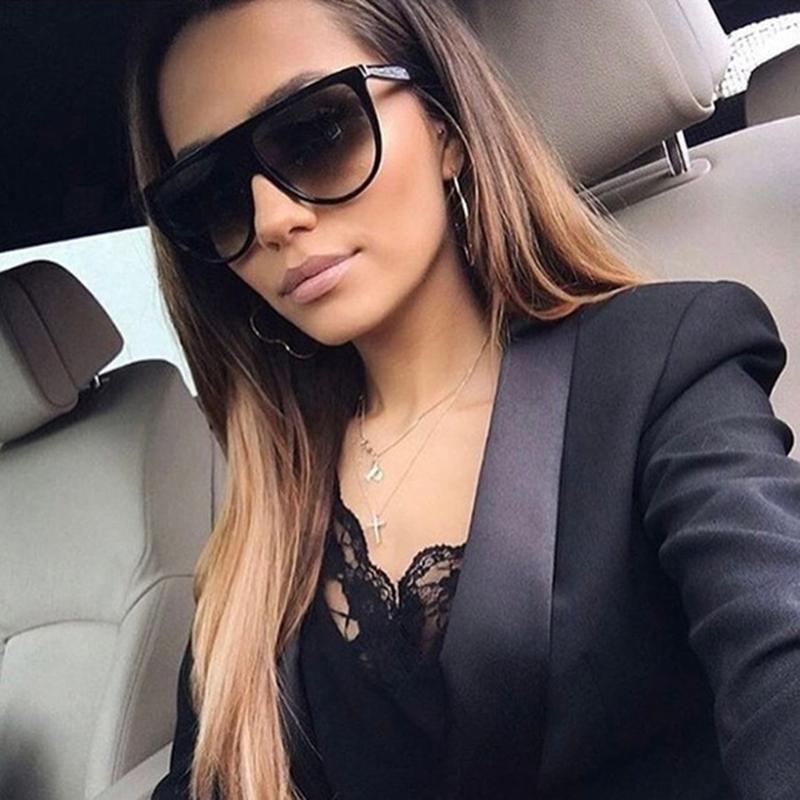 Luxury-Thin Flat Top Sunglasses Women Designer Retro Vintage Sun Glasses Female Clear Glass